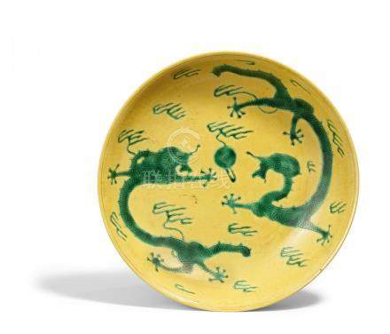 YELLOW DISH WITH DRAGONS.