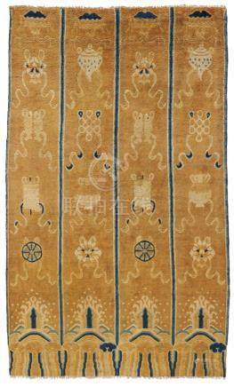 RARE IMPERIAL COLUMN CARPET WITH THE EIGHT BUDDHIST TREASURES.