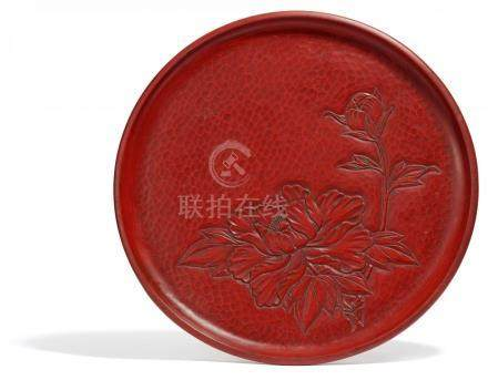LARGE ROUND TRAY WITH FLOWERING PEONY.