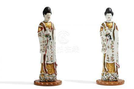 A PAIR OF RARE AND LARGE GUANYIN WITH BOY.