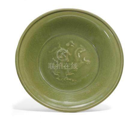 LARGE DISH WITH DRAGONS.