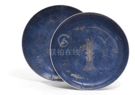 TWO POWDERBLUE DISHES WITH THE HUNDERT ANTIQUITIES.