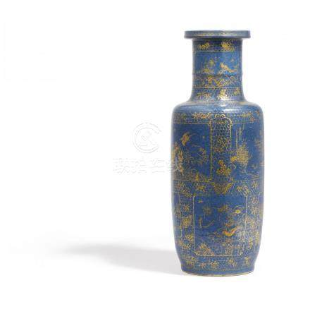 ROULEAU VASE WITH LANDSCAPES AND FLOWERS.