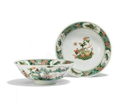 PAIR OF LAGER BOWLS WITH FLOWERS, INSECTS AND THE HUNDERT ANTIQUITIES.