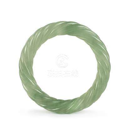 A FINE  JADEITE ROPE-TWIST BANGLE