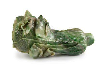A JADE CARVING OF A CHINESE CABBAGE