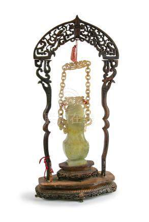 A FINE CHINESE JADE HANGING VASE