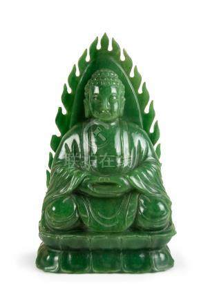 A JADE FIGURE OF SAKYAMUNI