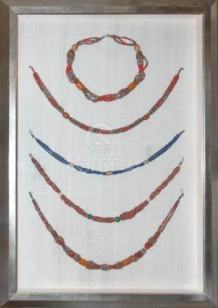 A SET OF FIVE BEADS JEWELRY WITH FRAME