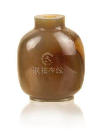 AGATE CARVED SNUFF BOTTLE (EGG YOLK ) QING DYNASTY