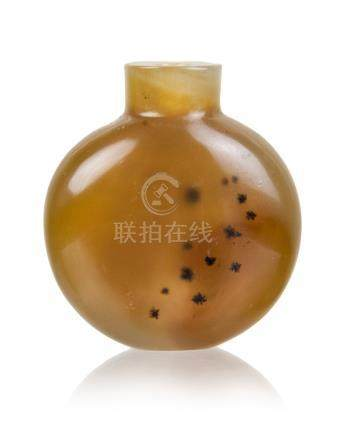 AGATE CARVED SNUFF BOTTLE ,QING DYNASTY