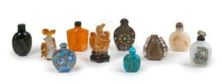 GROUP OF TEN SNUFF BOTTLES