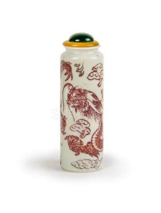 UNDERGLAZE RED DRAGON SNUFF BOTTLE,LATE QING