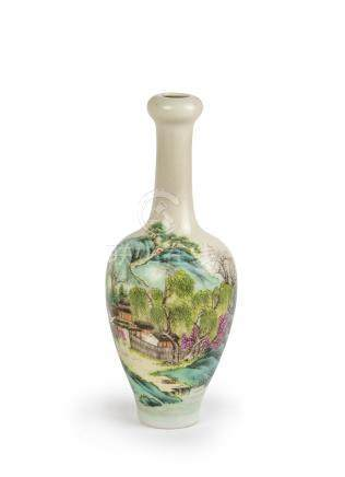 A CHINESE FAMILLE ROSE SCHOLARS VASE