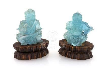 Two aquamarine sculptures