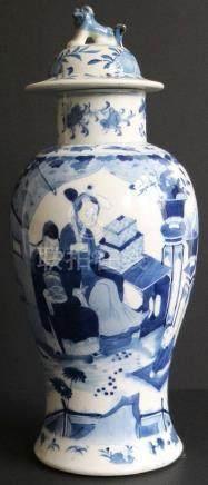 Chinese lid vase blue/white