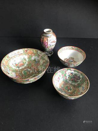 Lot chinese Canton (3) 19th century