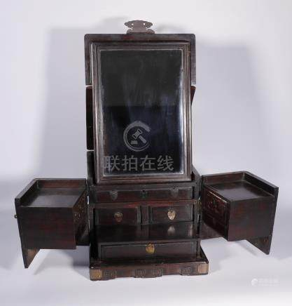 Red sandalwood Dressing Case from Qing Dynasty