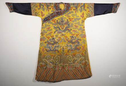 Gorgeous oriental Imperial robe (winter robe) from Qing Dynasty