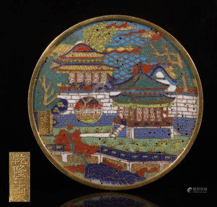 Qianlong year cloisonne gilding bronze Mirror from Qing Dynasty