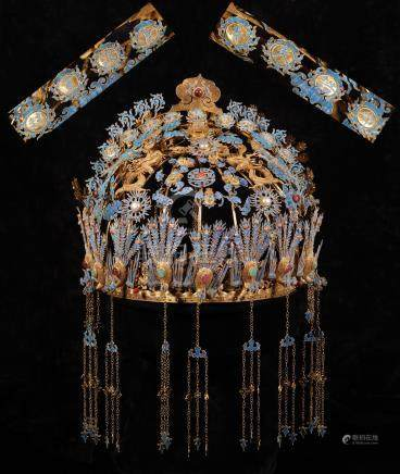 Gold Coronet Filigree inlay Jem with Phoenix Grain from Qing Dynasty