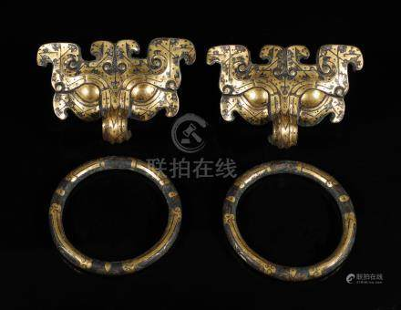 A pair of Gold-inlaid beast-face Door Handle from Han Dynasty
