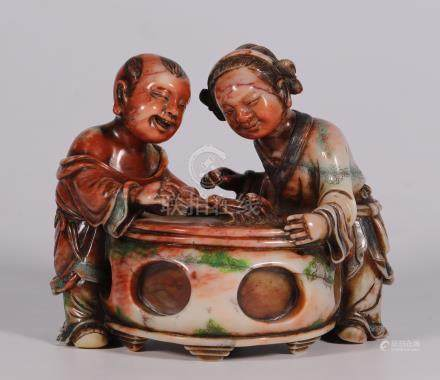 "Colored ""Shoushan Stone"" with two children playing ornaments from Qing Dynasty"