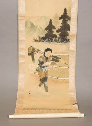 A Chinese scroll picture Depicting a farm labourer reading from a book with his tools over his