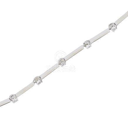 A contemporary 18ct white gold and diamond set line necklace claw set with thirty-two round