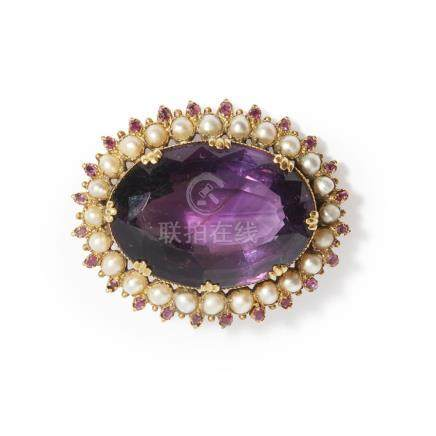 A large amethyst and pearl set brooch claw set with a large oval mixed cut amethyst, in a border