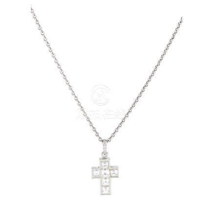 A diamond set cross pendant, Cartier channel-set with six square step-cut diamonds, the bale set