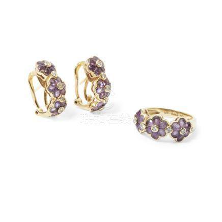 A suite of amethyst jewellery comprising a ring and a pair of earrings, each composed of three