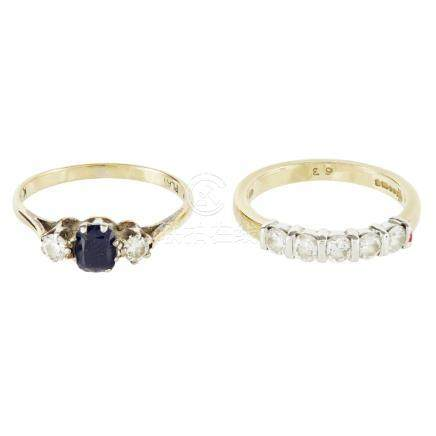 A diamond set half eternity ring bar set with five round brilliant cut diamonds, to a plain 18ct
