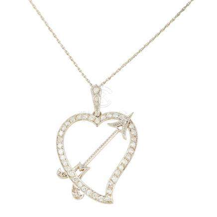 A diamond set 'Luckenbooth' pendant of traditional design, the Cupid's arrow diagonally piercing the