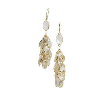 A pair of moonstone pendant earrings each modelled as a tassel collet set with oval moonstone