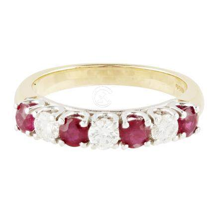 A ruby and diamond set half-eternity ring claw set with three round brilliant cut diamonds, and four