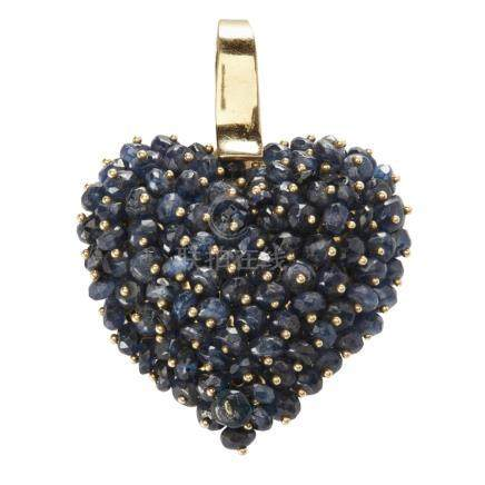 A sapphire set heart shaped pendant, Le Gi set throughout with rough cut beads, to a plain yellow