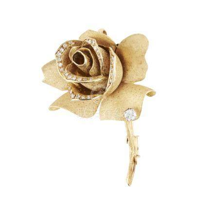 A 1960s diamond set brooch, Mellerio modelled as a rose in bloom, the textured petals set with small
