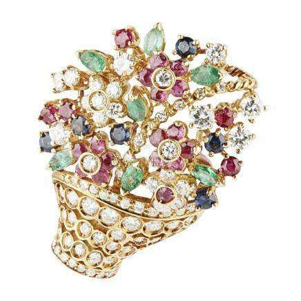 A multi-gem set giardenetto brooch, Chantecler modelled as a basket of flowers, the basket set