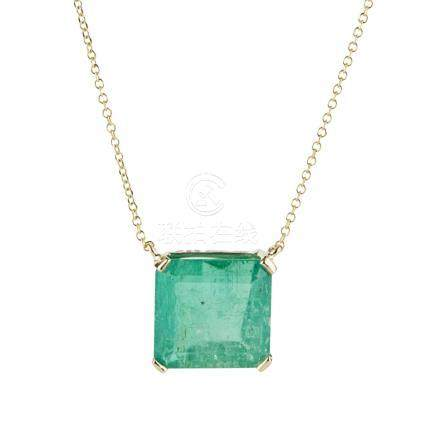 An emerald set necklace the square cut emerald corner claw set to an integral trace link chain