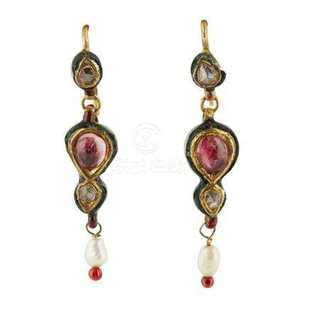 A group of Indian jewellery to include; two small seed pearl necklaces, each with a small enamel and