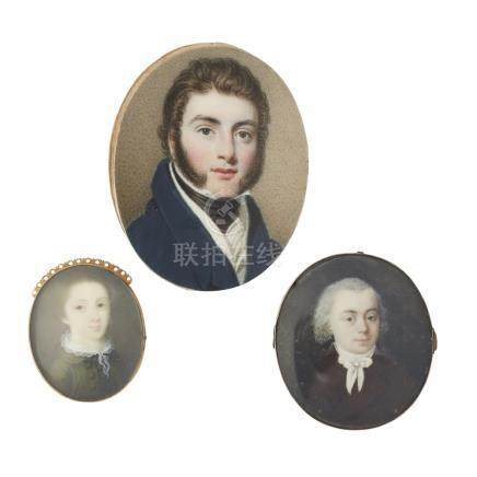 A group of three miniatures the first of a young girl signed and dated Ham 1769, in a bracelet