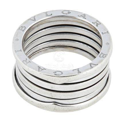 A 'B Zero' ring, Bulgari the coiled sprung band, engraved 'BVLGARI' to the outside band, signed '