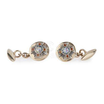 A pair of 9ct gold enamel cufflinks, Order of St Michael & St George the principal terminals with
