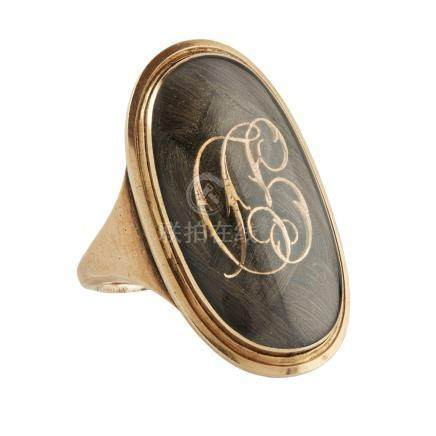 A late 18th century mourning ring, Clan McFarlane the oval glazed panel with latticed hair and
