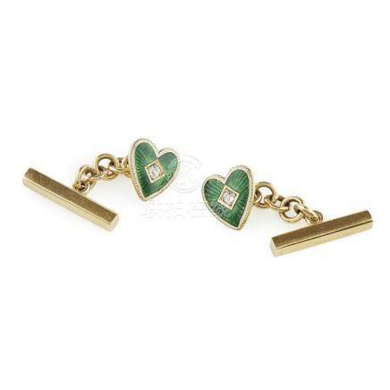 A pair of enamel heart shaped cufflinks the principal terminal modelled as a heart, claw set with