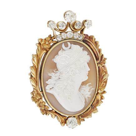 A 19th century Russian shell cameo and diamond set brooch Eduard Schramm, St Petersburg 1890s, the