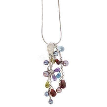 A modern multi-gem set necklace the pave set diamond panel suspending four graduated belcher link