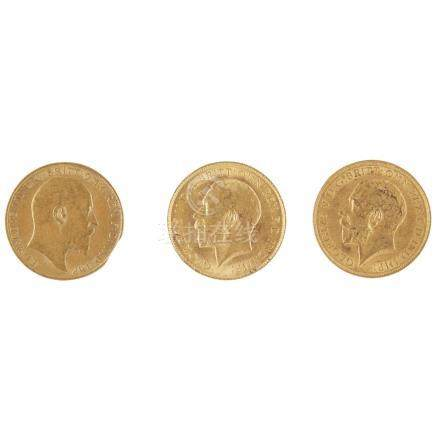 G. B. - Three half sovereigns 1907, 1913 & 1914 (3)