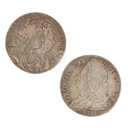 G.B. - A 1745 Lima half-crown and1689 half-crown 1689, F/VF, 1745 F/VF